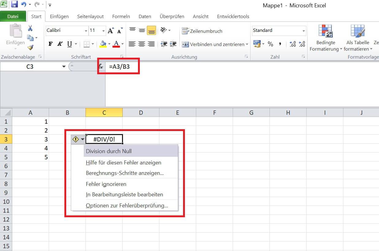 Excel - Fehler Formel beheben - teilen durch 0