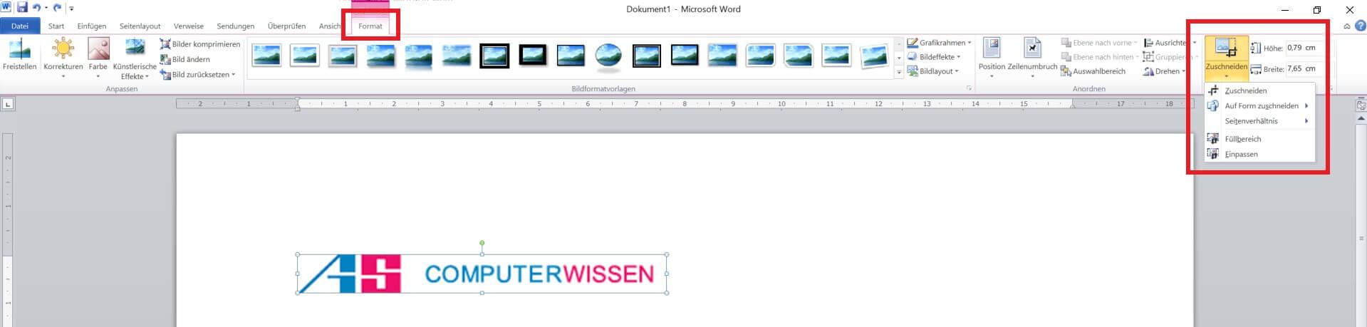 Word - Bilder zuschneiden