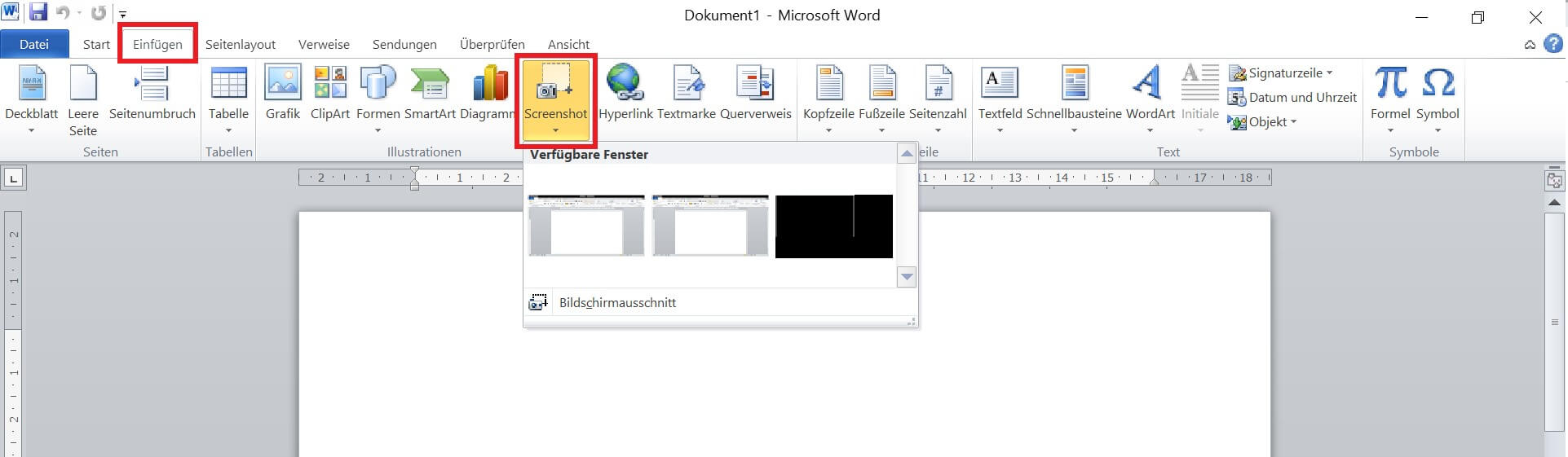 Word - Screenshot einfügen