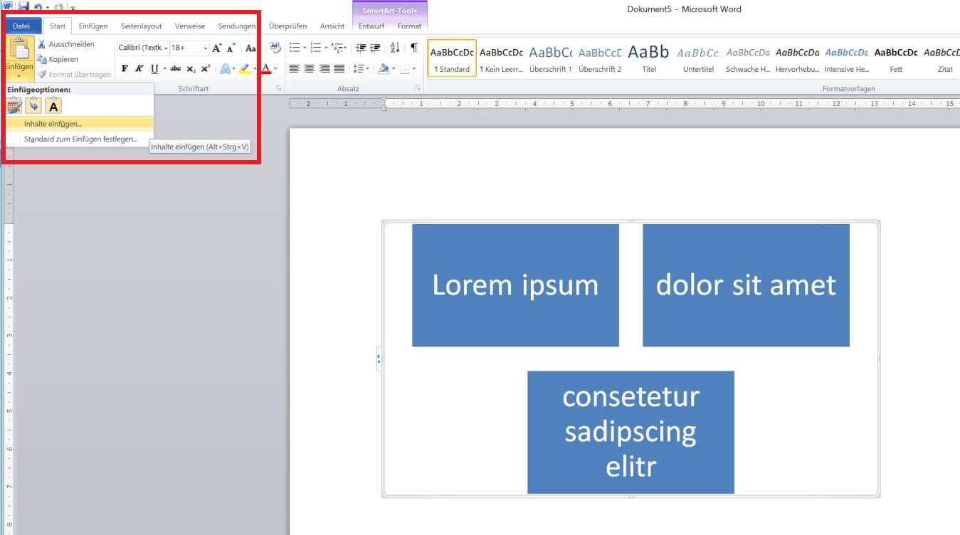 Word - SmartArt-Grafik exportieren