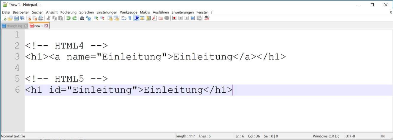 HTML5 - Sprungmarken
