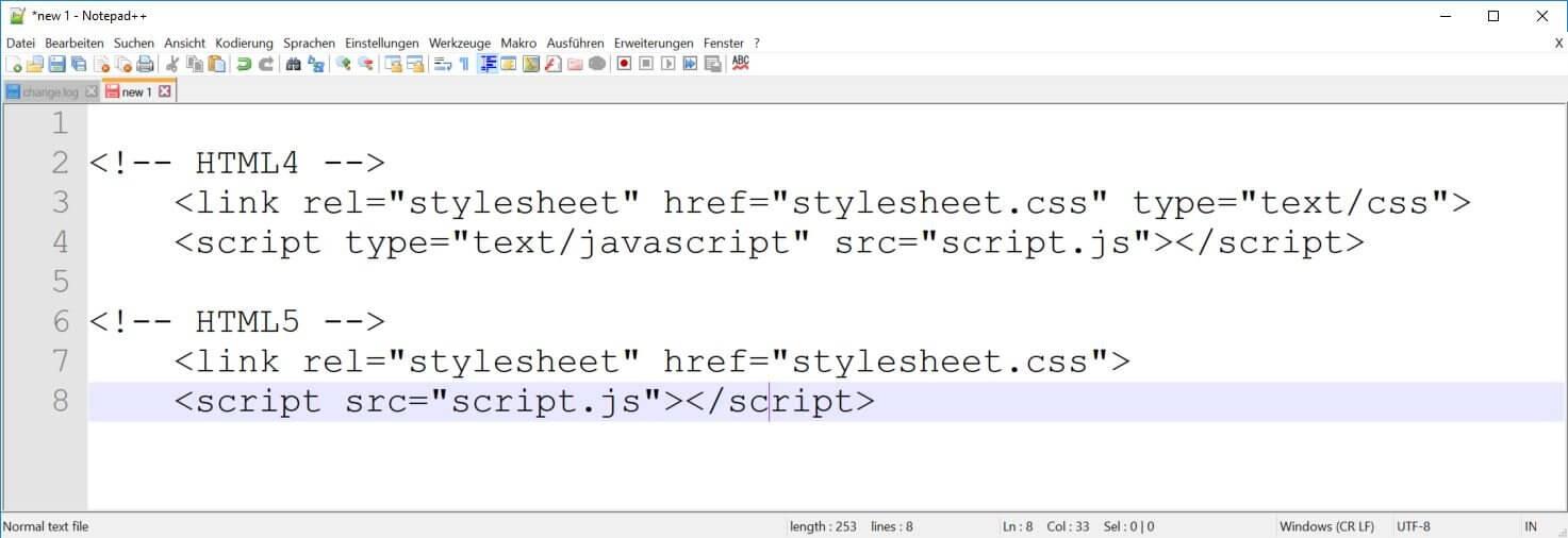 HTML5 - Typangaben für CSS oder JavaScript