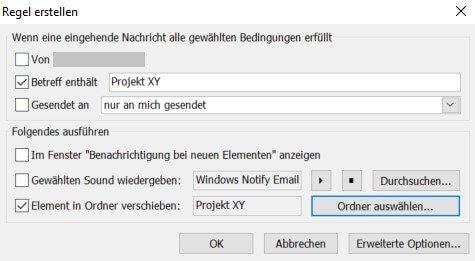 Outlook - Regel erstellen