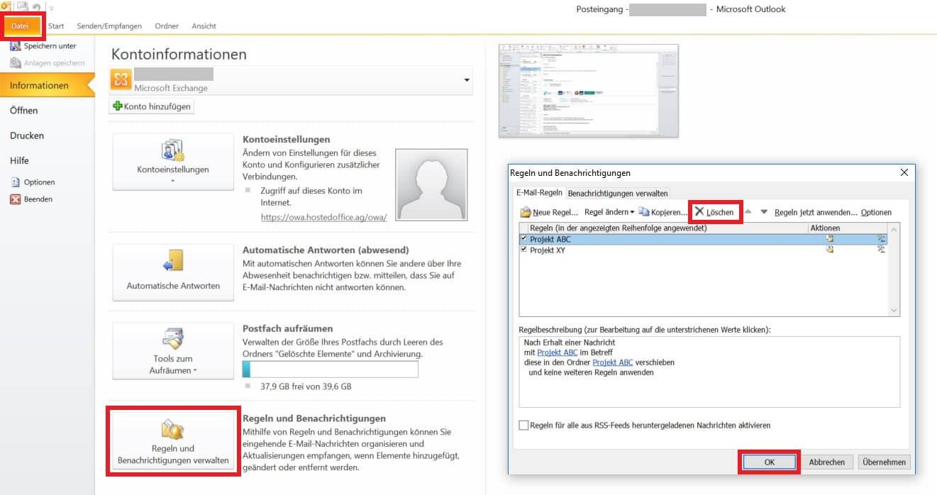 Outlook - Regel löschen