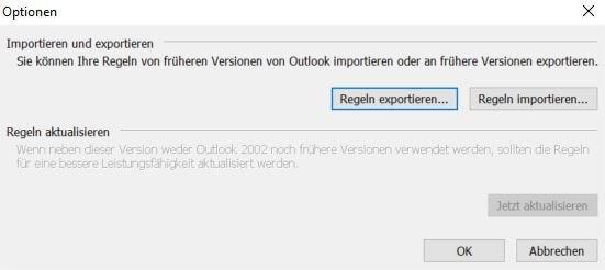 Outlook - Regeln exportieren
