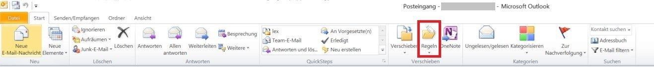 Outlook - Schaltfläche Regeln