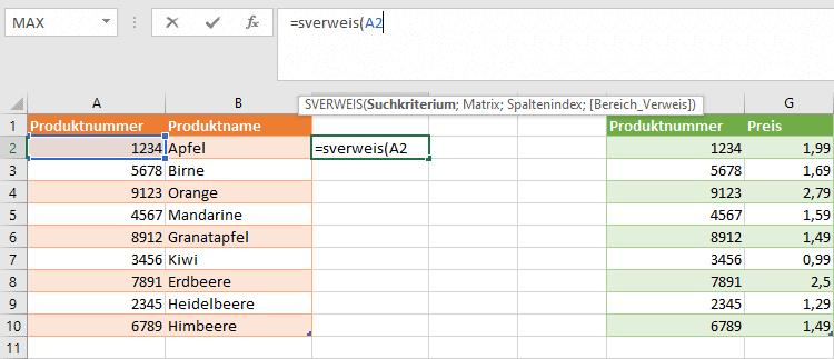 Excel SVERWEIS Suchkriterium