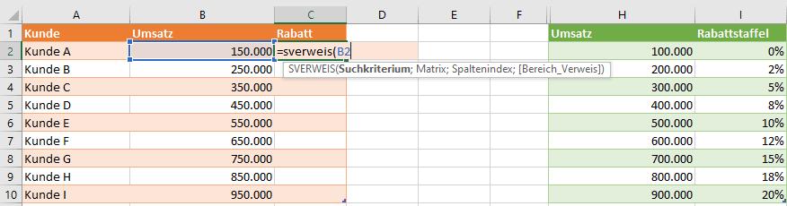 Excel SVERWEIS Tabelle Suchkriterium