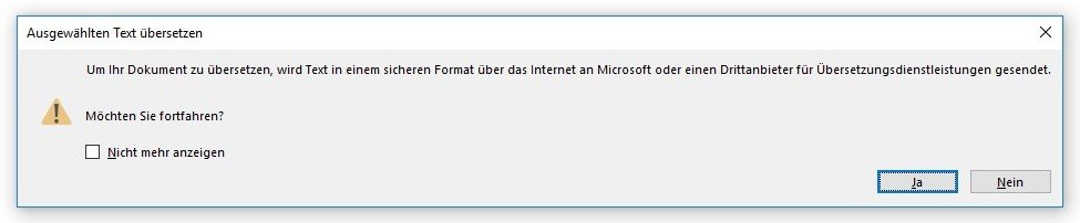 Dialogfenster Sofortübersetzungen bei Microsoft Word