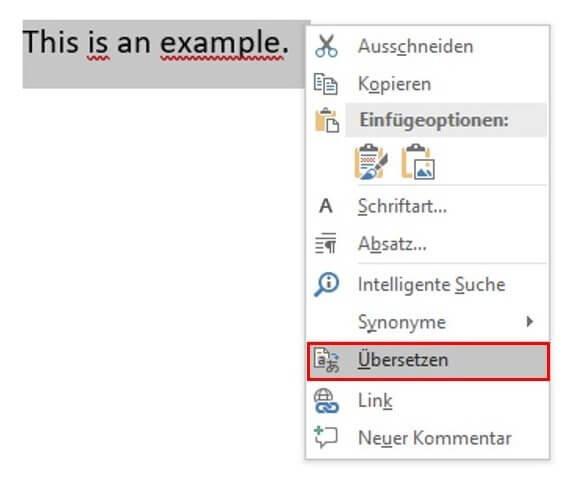 """Word Rechtsklick """"Übersetzen"""""""