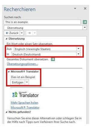 Word Sofortübersetzung - einstellen der gewünschten Sprache