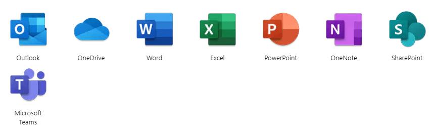Beinhaltete Anwendungen des Programmpakets Office 365