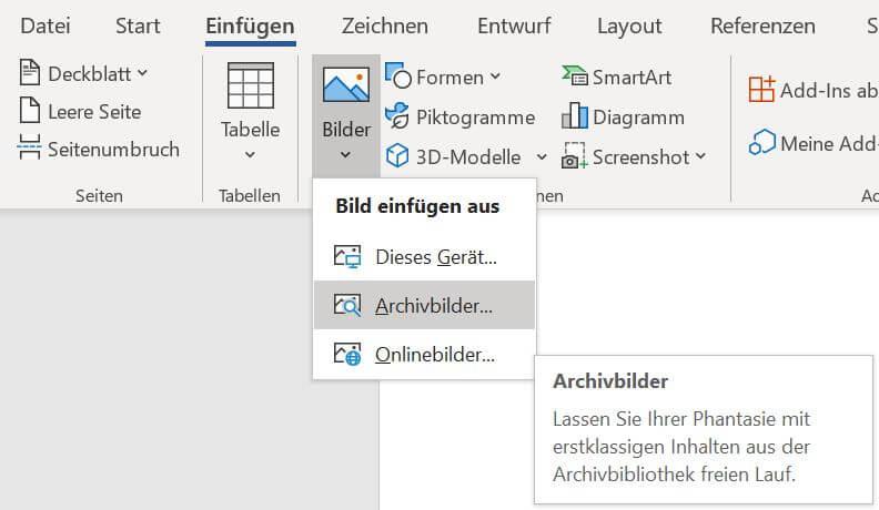 Archivbilder einfügen Microsoft 365