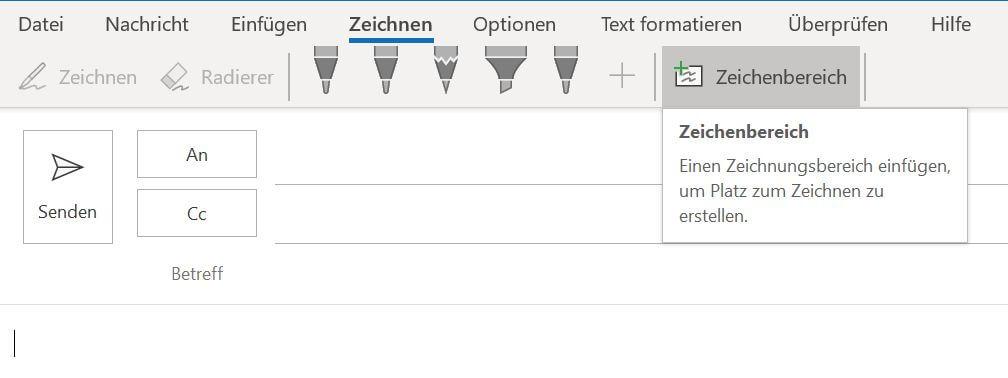 Outlook 365 Zeichnen und E-Mails Freihand signieren