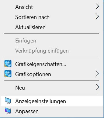 Screenshot Anzeigeeinstellungen für den Monitor auswählen